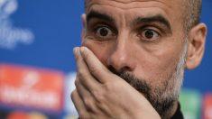 Guardiola durante una rueda de prensa con el City. (AFP)
