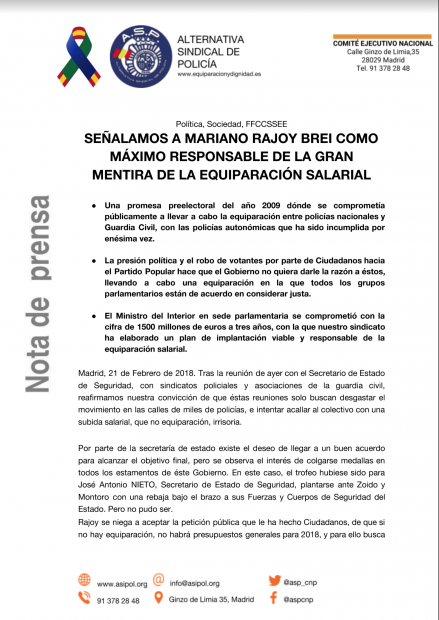 Nota del sindicato ASP sobre la responsabilidad de Rajoy en la equiparación salarial