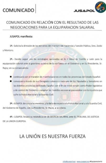 Comunicado de Jusapol pidiendo la dimisión del Ministro del interior