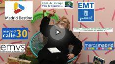 La alcaldesa junto a los logos de las empresas municipales. (Foto: Madrid)