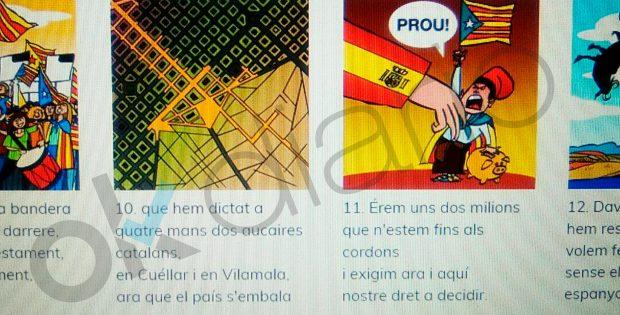 """Viñetas en colegios catalanes para ejercicios escolares: """"Queremos votar, nada mejor que un referéndum"""""""