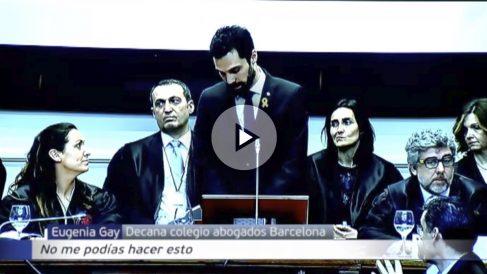 La cúpula judicial en Cataluña se ha levantado de sus asientos en un acto institucional cuando el presidente del Parlament ha hablado de «presos políticos»