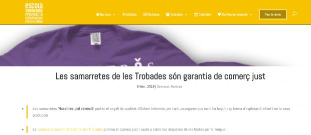 Escola Valenciana vende las camisetas de la investigada Oxfam Intermón
