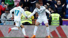 Cristiano Ronaldo celebra un gol junto a Lucas Vázquez, que será titular ante el Bayern | Champions League. (EFE)