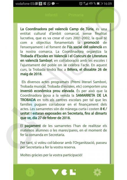 Mensaje para los padres de Escola Valenciana