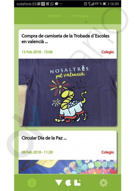 Mensaje para la venta de camisetas de Oxfam de Escola Valenciana