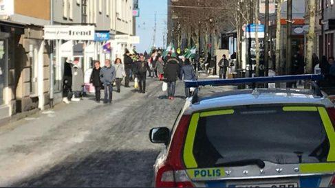 Manifestación neonazi en Jonkoping, Suecia.