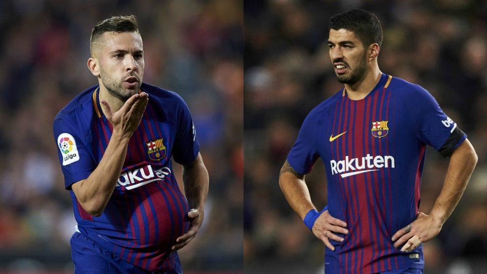 Jordi Alba y Luis Suárez. (Getty)