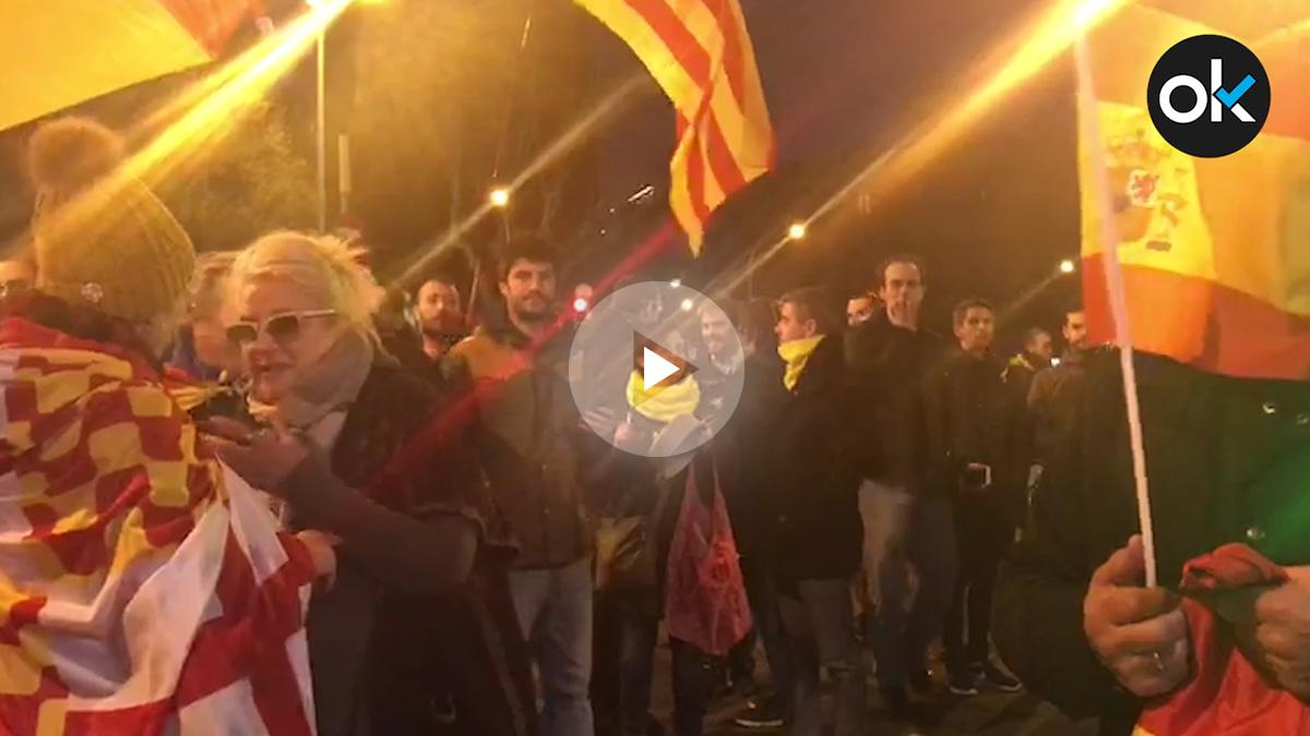 Concentración independentista en Barcelona, este domingo.