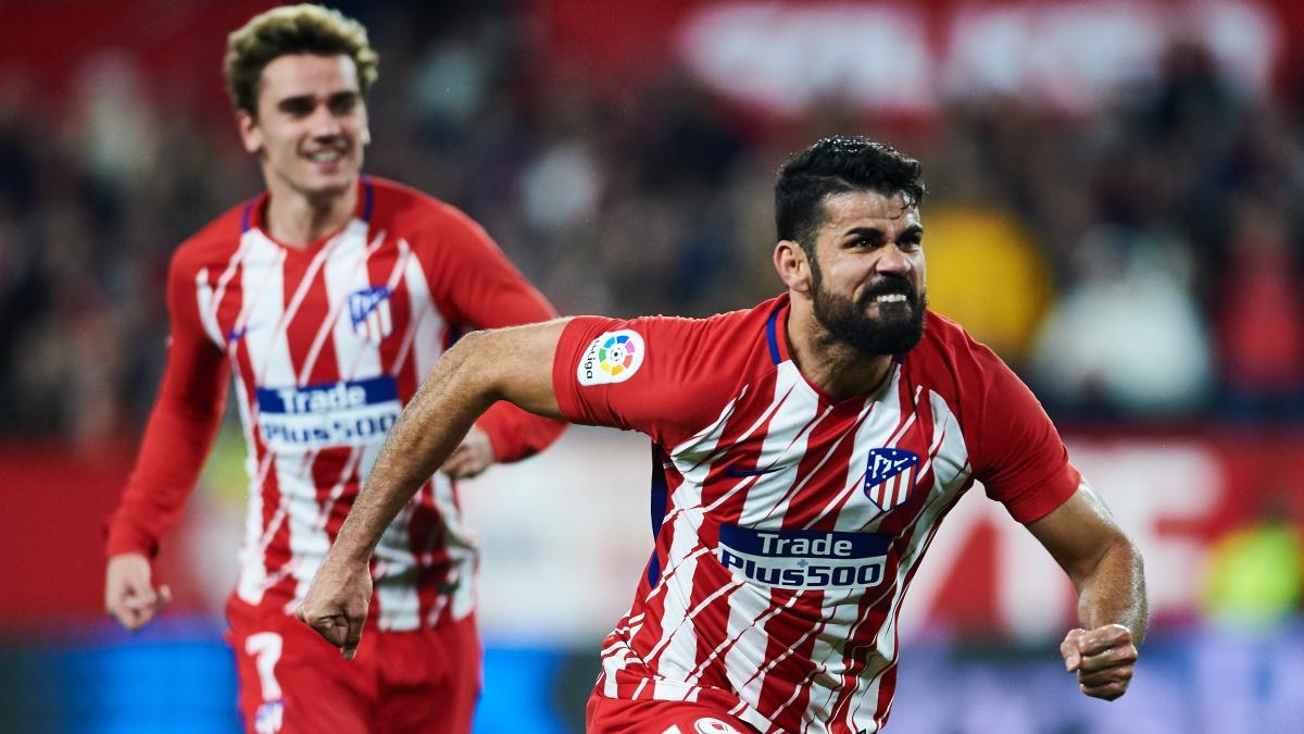 Diego Costa celebra su primer gol durante el Sevilla – Atlético. (Getty)