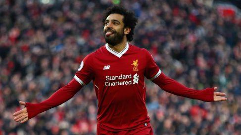 Mohamed Salah celebra su gol ante el West Ham (Getty).