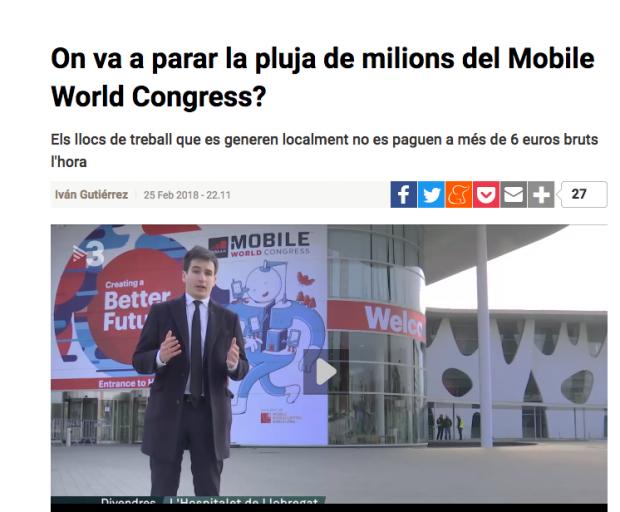 La subvencionada TV3 también quiere que el MWC se vaya de Barcelona: «No sale a cuenta»