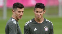 Lewandowski y James, en un entrenamiento del Bayern. (Getty)