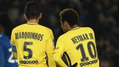 Marquinhos y Neymar, en un partido con el PSG. (AFP)