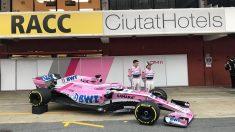 El nuevo Force India con el Halo rosa