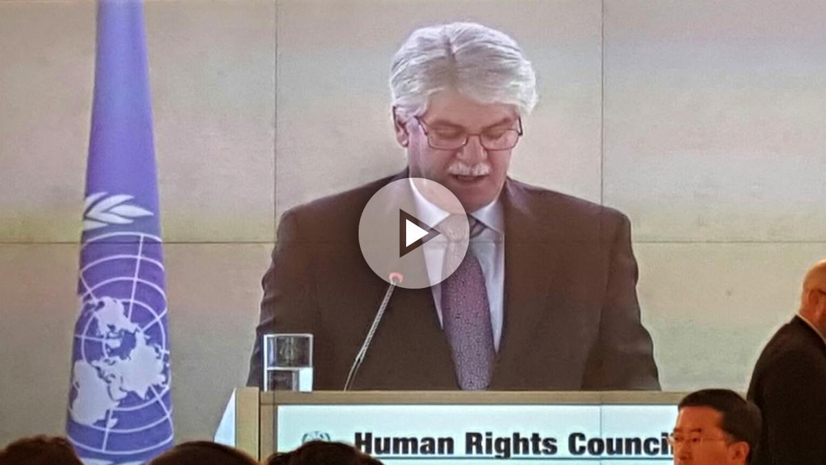 Alfonso Dastis, ministro de Exteriores, presenta las prioridades de España a su entrada en el Consejo de DDHH de la ONU.