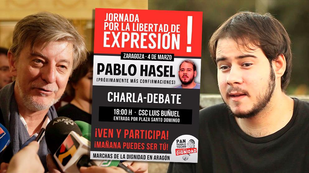 El alcalde de Zaragoza y el rapero conenado Pablo Hasel