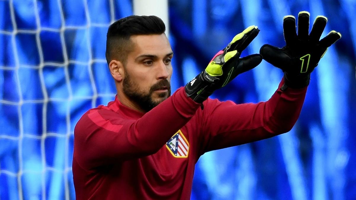 Moyá en un calentamiento del Atlético de Madrid. (Getty Images)