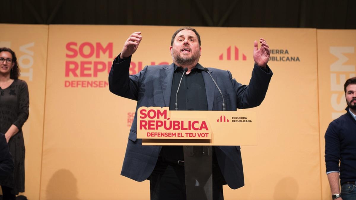 Oriol Junqueras en un mitin de ERC.