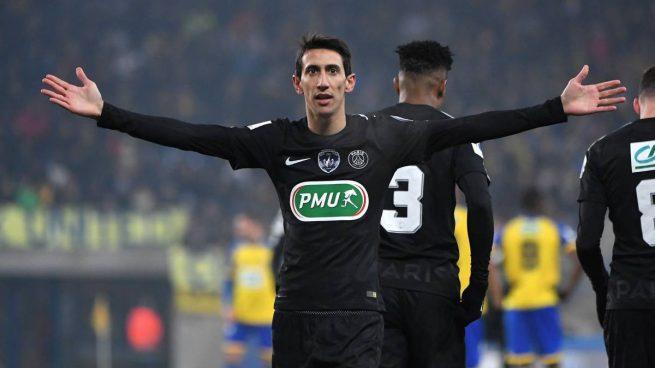 Di María celebra un gol con el PSG (AFP).