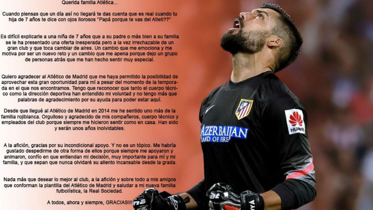 Moyá se despide del Atlético.