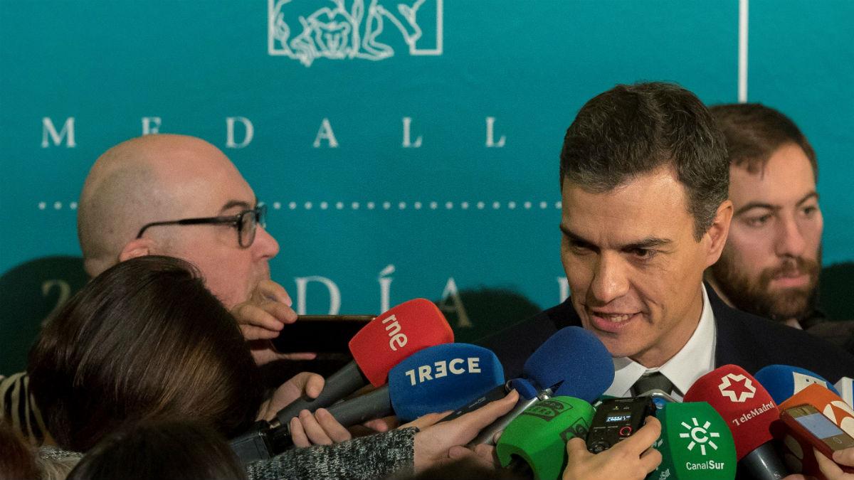 El secretario general del PSOE, Pedro Sánchez en el acto del 28-F en Sevilla (Foto:EFE)