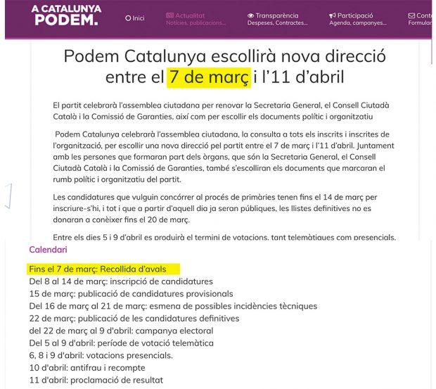 Comunicado de Podem Catalunya este miércoles en el que da un plazo de 7 días para presentar avales