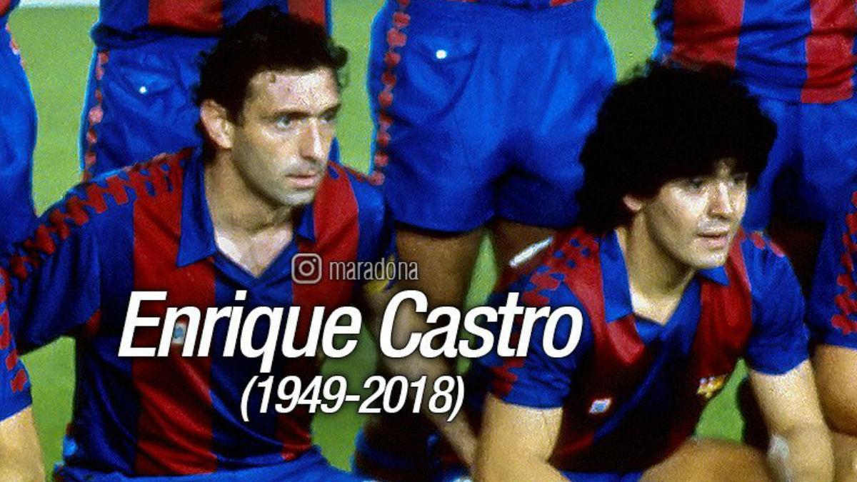 Maradona y Quini durante su etapa en el Barcelona.