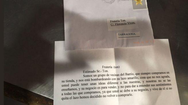 Carta que ha recibido un frutero de Tarragona