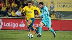 Messi durante el choque ante Las Palmas. (AFP)
