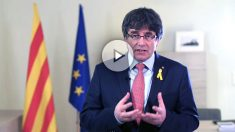 Puigdemont anunciando su renuncia