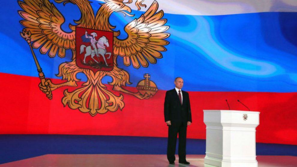 Vladimir Putin, Presidente de Rusia, en la presentación de su nuevo misil armamentístico. Foto: AFP
