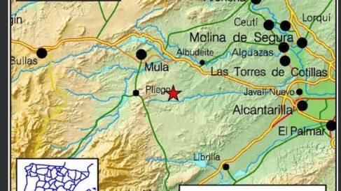Epicentro del terremoto en la Región de Murcia.