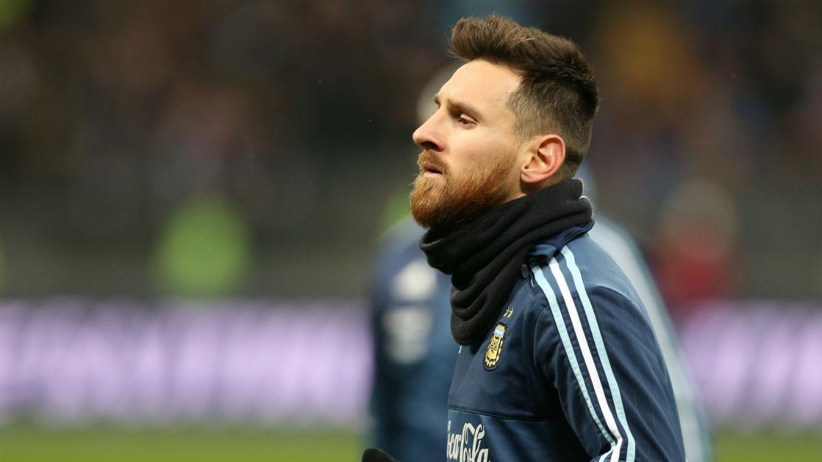 Messi durante un entrenamiento con Argentina (Getty)