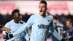 Milinkovic-Savic celebra un gol con la Lazio. (AFP)