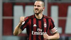 Bonucci celebra un gol con el Milan. (AFP)