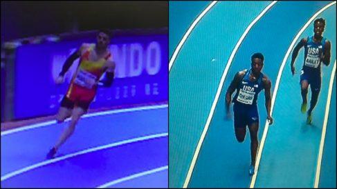 Husillos no pisa la línea, algo que sí hizo el atleta norteamericano.