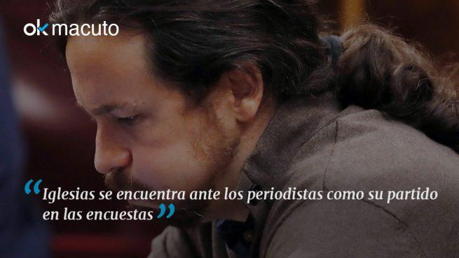 Pablo Iglesias, en horas bajas ante los periodistas del Congreso