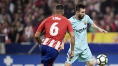 Koke defiende a Messi durante el partido en el Wanda Metropolitano. (AFP)