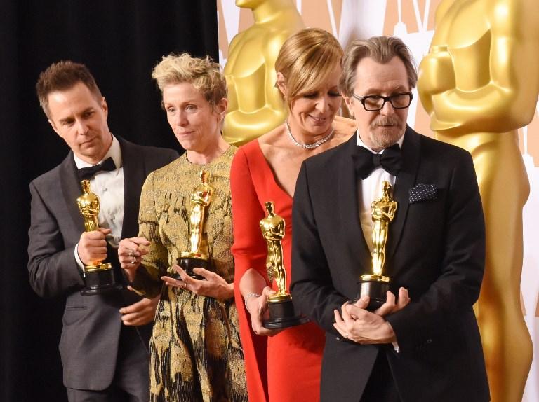 Sam Rockwell, Frances McDormand, Allison Janney y Gary Oldman posan con sus respectivos premios Oscar por sus interpretaciones. Foto: AFP