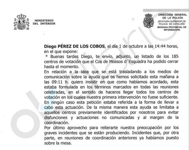 Correo electrónico enviado por el mayor de los Mossos, Ferrán López, al coronel de la Guardia Civil, Diego Pérez de los Cobos durante la celebración del referéndum ilegal del 1 de octubre.