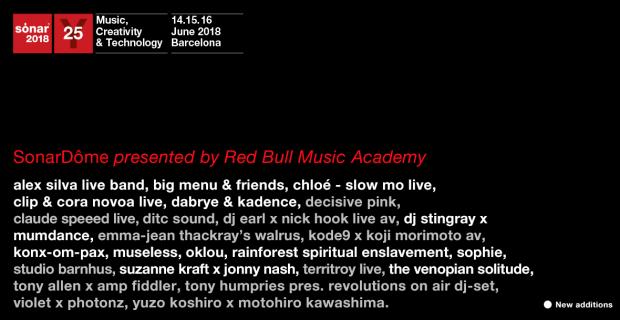Red Bull Music Academy desvela la programación completa para el escenario Dôme de Sónar que se encarga de comisariar un año más.