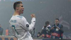 Cristiano celebra su gol al PSG. (AFP)