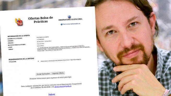 Podemos busca becarios-esclavos en Alicante con el siguiente salario: 0 euros/mes
