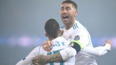Sergio Ramos celebra el gol de Lucas. (AFP)