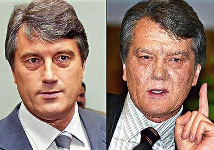Viktor Yúshchenko antes de sufrir el envenenamiento y tras recuperarse del mismo con las visibles marcas en su rostro.