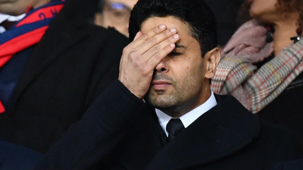 Al Khelaifi, desesperado en el partido contra el Real Madrid. (AFP)