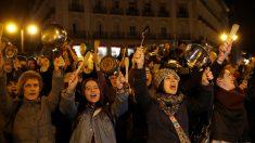 Concentración feminista en la Puerta del Sol al inicio del 8M.