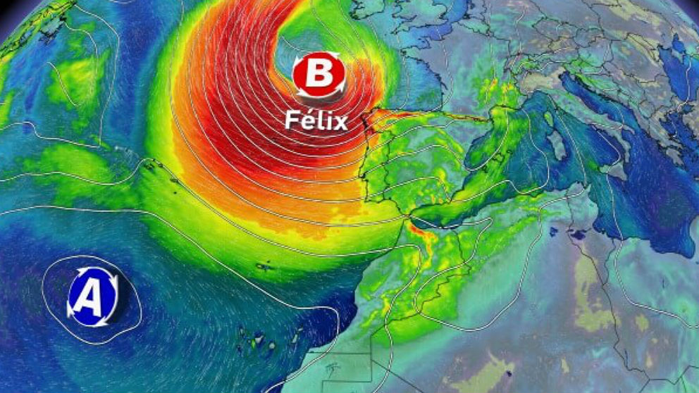 La borrasca Félix representada en un mapa significativo del tiempo.