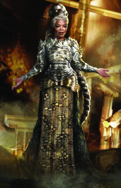 Un boceto del diseño de vestuario para Oprah Winfrey en la nueva película de Disney 'Un pliegue en el tiempo'.